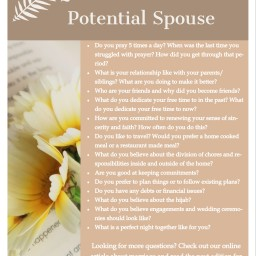 Questions to ask a potential spouse!